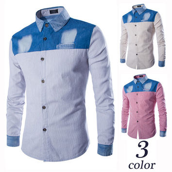 Denim Stripe Color Block Shirt