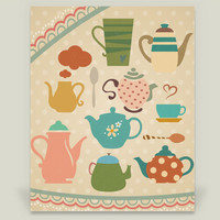 Teapots Art Print by halamodesigns on BoomBoomPrints