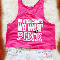 Copy of On Wednesdays We Wear Pink Crop Tank Top !!ON SALE NOW!!