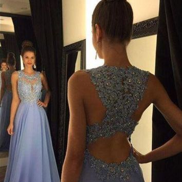 Fashion Scoop A Line Prom Dresses 2017 New Appliques Beads Sequins Chiffon Formal Evening Gowns Robe