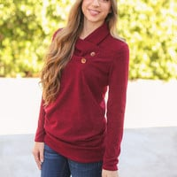 Button Detail Sweater - Burgundy