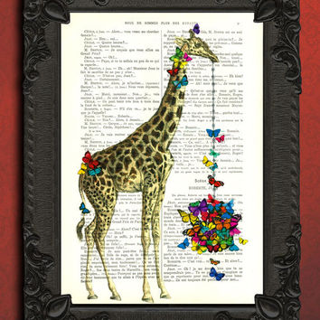 GIRAFFE with BUTTERFLY basket - giraffe art, printmaking - Giraffe with colorful butterflies