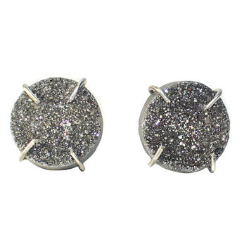 Sterling Silver Titianium Druzy Round Claw Prong Studs