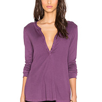1x1 Long Sleeve Henley in Wild Mulberry
