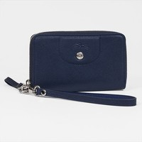 Longchamp Zip Around Wallet Cell Case - Le Pliage Cuir - Indigo