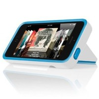 INCIPIO STOWAWAY Hybrid Case w/ Credit Card Holder IPH-853 (White) for Apple iPhone 5 (Blue)