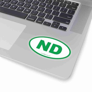 North Dakota NE Euro Oval Sticker GREEN
