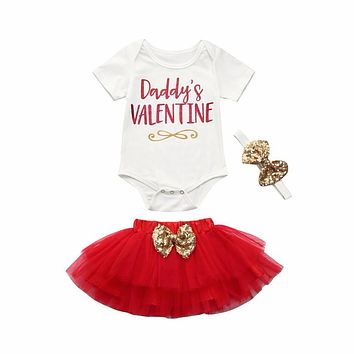 Newborn Baby Girl Clothes Short Sleeve Daddy's Valentine Letter Romper Tops+ Tutu Skirt+Headband 3PCS Outfit Kids Clothing Set