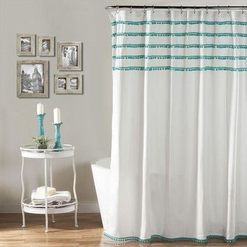 MDIGPL3 Lush Decor Aria Pom Pom Shower Curtain