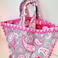 Pink ribbon and grey quilted handbag, quilted tote bag, gift for her, womens accessories, quilted purse, cotton fabric bag, fashionable tote