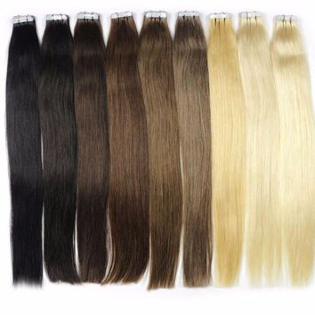 """Ombre Brazilian Straight Skin Weft Human Hair Tape In Extensions 14"""""""