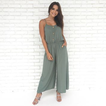 Coast to Coast Jumpsuit In Sage