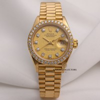 Factory Rolex Lady DateJust 69138 18K Yellow Gold Diamond Dial