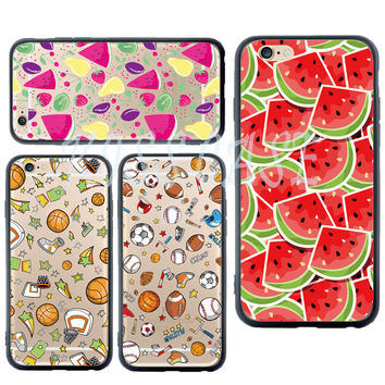 Cool Summer Phone Case for Apple iPhone5s 6 6S Plus 7 Plus Shell Frozen Watermelon NBA Ball Rugby Cover Acrylic Silicone Fundas