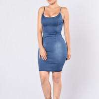 I Got the Juice Dress - Dark Wash