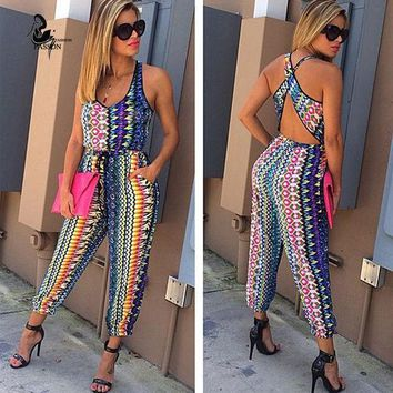 Hot Sale 2 Pieces Printed Jumpsuits  Rompers 2016 Summer Sleeveless Bodycon Long Pants Crop Top Two Pieces Outfits  For Women