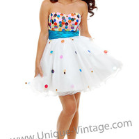 White Strapless Confetti Prom Dress with Turquoise Waistband - XS to 2X - Unique Vintage - Cocktail, Pinup, Holiday & Prom Dresses.