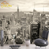 Custom Mural European Retro Building Mural Bedroom Living Room TV Backdrop New York Black And White City Non-woven Wallpaper 3D