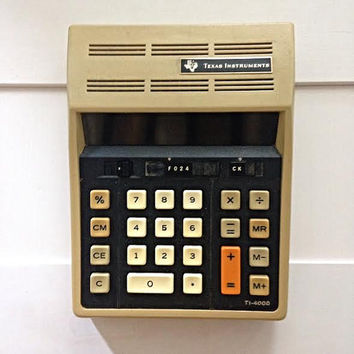 1974 Rare Vintage Calculator - Texas Instruments TI-4000 -  !970s Retro Mathematics Antique Home Decor Display