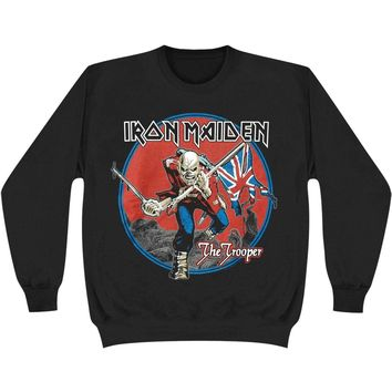 Iron Maiden Men's  Trooper Red Sky Crew Neck Sweatshirt Black