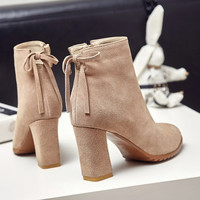 On Sale Hot Deal Winter Matte High Heel Zippers Butterfly Korean Boots [6366201156]