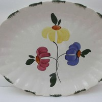 Blue Ridge Dinnerware Platter Painted Daisy Southern Potteries Blue Yellow Pink Green