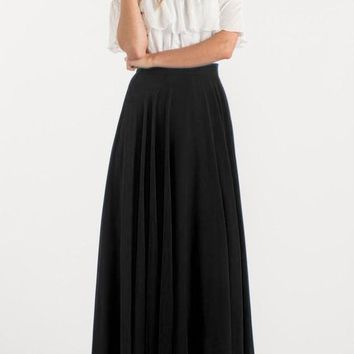 Black Pockets Draped Flowy High Waisted Bohemian Party Skirt