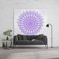 Violet mandala Wall Tapestry by juliagrifoldesigns