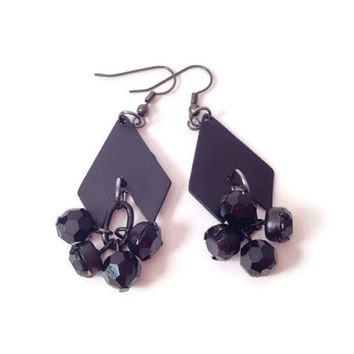 Black chevron dangle bauble earrings