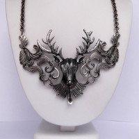 Antiqued Silver Metal Mounted Deer Head Statement Necklace - Oxidized Silver Big Buck Bib Necklace - Deer Head Hunter Statement Necklace