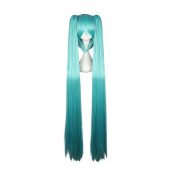 "Mcoser 51""130cm Synthetic Long straight hair 2 Clip On Ponytail Acid Blue Color Heat Resistent Wigs KW-072A"