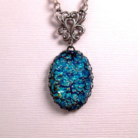 Deep Blue Sea Turquoise Opal Pendant Necklace