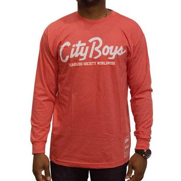 City Boys Long-sleeve Tee in red heather