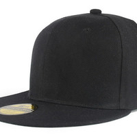 Adjustable Men Women Baseball Cap Solid Hip Hop Snapback Flat Peaked Hat Visor X117