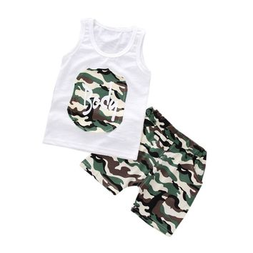 Kid's Camouflage Tank Top and Shorts Clothing Set 6M-24M