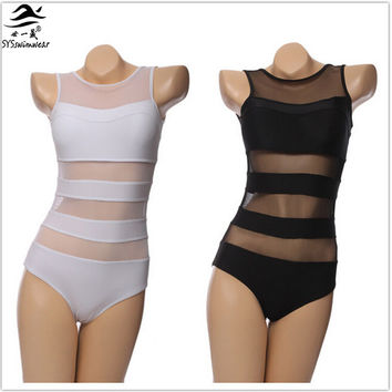 Hot Sexy Mesh Swimwear Sheer Swimsuit Hollow Out One pieces Swimsuit Bodysuit Swimwear Women High Waisted Bathing suit Beachwear