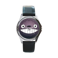 My Neighbor Totoro Miyazaki Studio Ghibli Black Leather Watch Wristwatch Unisex