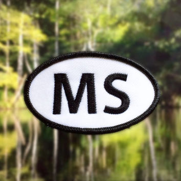 "Mississippi MS Patch - Iron or Sew On - 2"" x 3.5"" - Embroidered Oval Appliqué - Magnolia State - Black White Hat Bag Accessory Handmade USA"