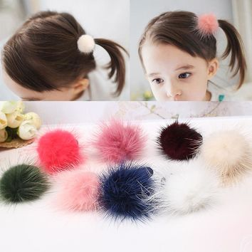 M MISM Lovely Multicolor Fluff Ball Hair Accessories Rubber Band Gum for Elastic Hair Bands Scrunchy for Girls Kids Children