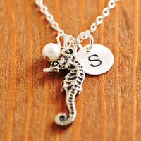 Beach Necklace - seahorse necklace, personalized necklace, initial necklace, beach wedding, destination wedding