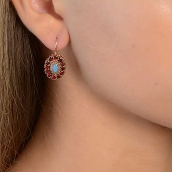 Drop Earrings with Garnet and Oval Labradorite Flower shaped in 14K Rose Gold Wire back with hook and lever