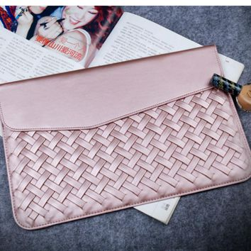 Fortxen Weaving Case for Macbook Air 11 13 Pro 12 13 Retina PU Leather Luxury Fashion Protective Sleeve for Macbook Pro 11 12 13