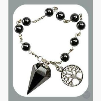 """Stone of the Mind"" Hematite Tree of Life Pendulum Bracelet"