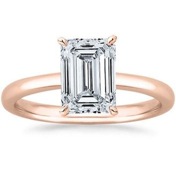 .GIA | Emerald Cut Solitaire Diamond Engagement Ring 14K White Gold (0.90 ct, K, VS1-VS2, 14k)