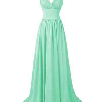 Fashion Plaza US Women's A-Line Spaghetti Straps Sweetheart Long Lace Chiffon Prom Dress