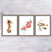 Finding Nemo, Set of 3, Nemo print, Nursery poster, Art print, Disney illustration, Baby shower gift, Sheldon, Squirt, Kids room, movie V37