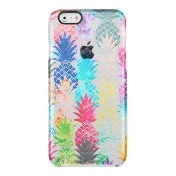 Hawaiian Pineapple Pattern Tropical Watercolor Uncommon Clearly™ Deflector iPhone 6 Case