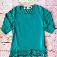 Lace Extender Tee - Turquoise (Toddler & Youth)