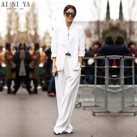 White 2 Pieces Sets Womens Business Suits Formal Pant Suits For Weddings Tuxedo OL Long Sleeve Female Trouser Suit Custom