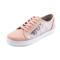 Glitter Inset Lace-Up Sneaker: Charlotte Russe